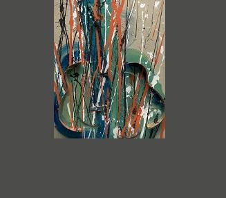 acrylique et découpe de guitare sur toile montée sur panneau 100 x 81 x 10 cm.